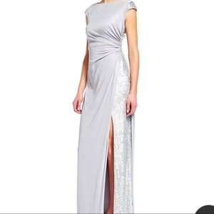 Adrianna Papell Silver Silky Sequin Evening Gown